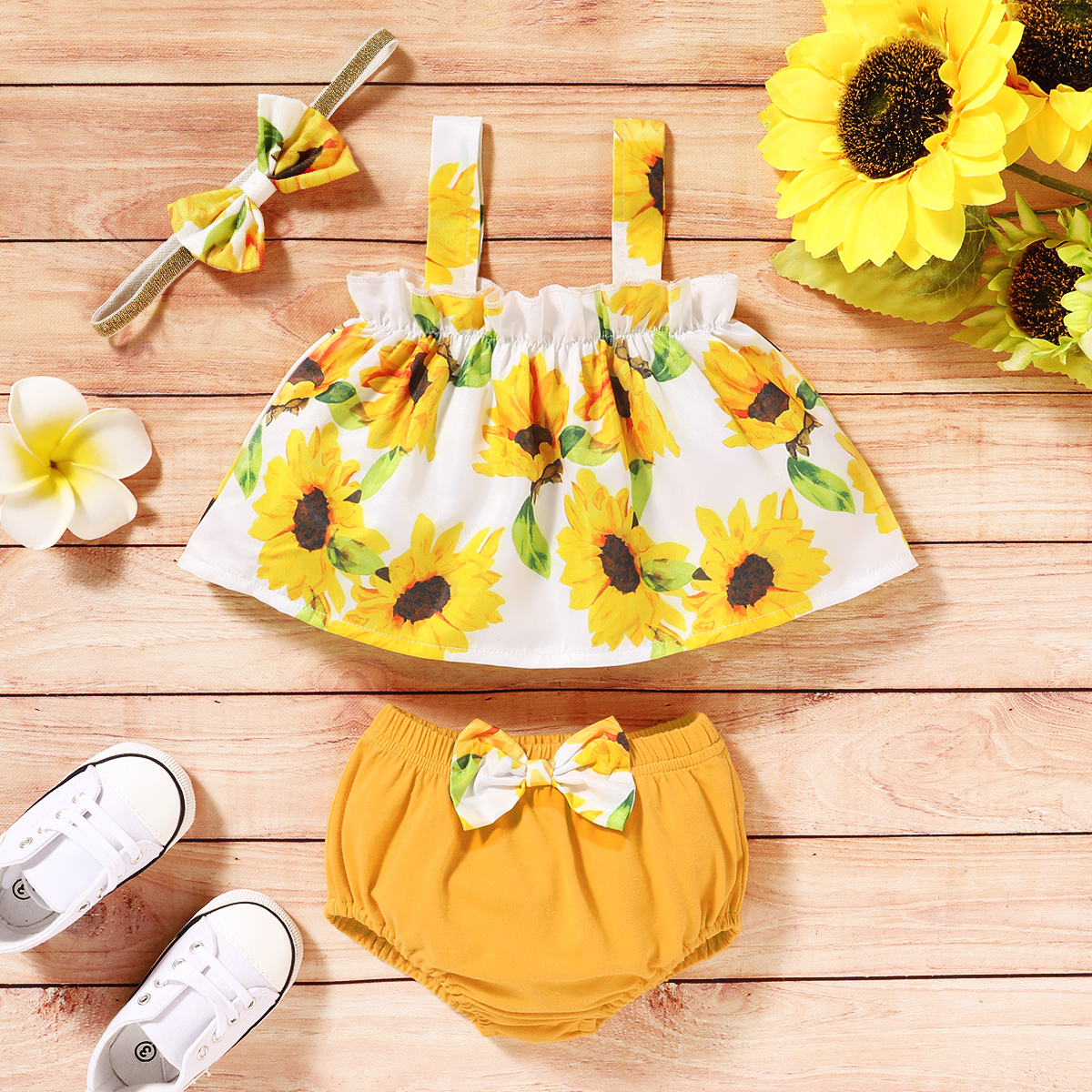 Pudcoco Newborn Baby Girl Clothes Summer Sunflower Print Off Shouder Strap Crop Tops Shorts Headband 3Pcs Outfits Cotton Sunsuit