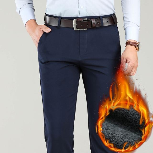 Большие размеры 40, 42, 44, зимние мужские теплые повседневные штаны, высокое качество, хаки, 97.5% хлопок, обычные Стрейчевые плотные брюки, мужские брендовые