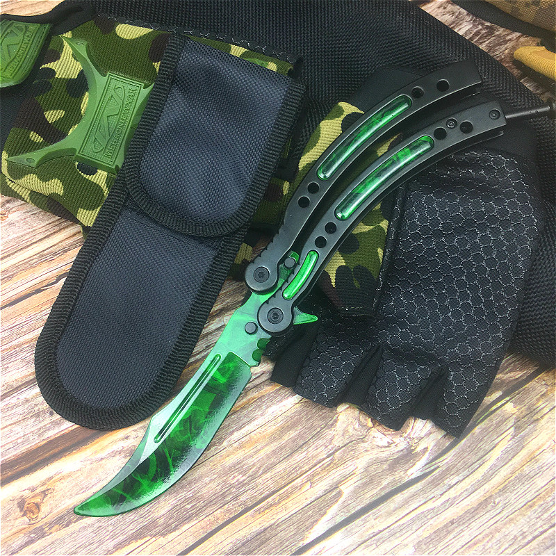 CS Go Butterfly Training Knife 9.8 Inch Grass Green Butterfly Training Knife With Scabbard And Neck Rope Tactical Claw Knife