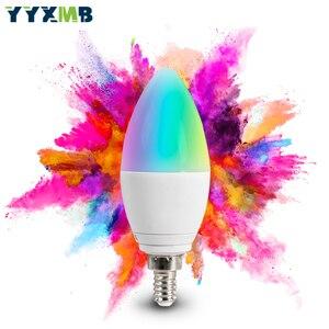 Image 2 - Lampada a LED Smart tuya WiFi E14 lampadina a candela supporto ECHO/Google Home/IFTTT telecomando vocale Smart RGBCW Led Light