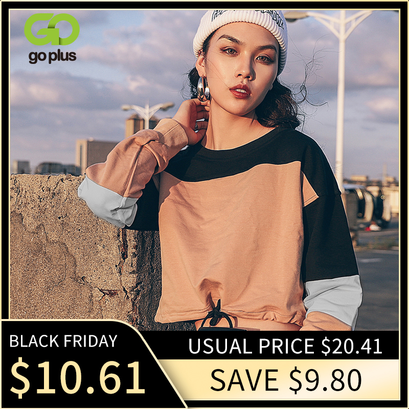 GOPLUS Hoodies Womens Autumn Winter Patchwork Round Neck Bandage Blackpink Sweatshirt Oversized Hoodie Solid Sudadera Mujer