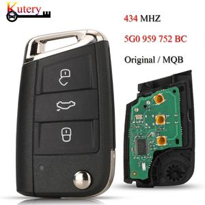 Image 1 - Kutery Originalระยะไกลคีย์สมาร์ทรถสำหรับVW/Volkswagen Golf 7 Passat Variant 3ปุ่มMQB Keyless Go 434MHZ 5G0959752BC