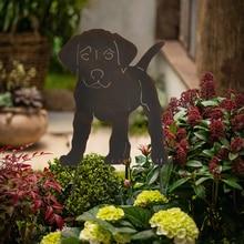 Decor Peg Ground-Insert Garden for Outdoor Hollow Lifelike Animal Metal Statue Dog-Figure