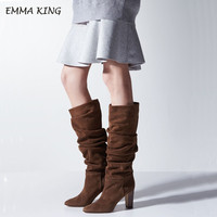 EMMA KING Women's Boots Suede Pleated Loose Mid Calf Boots Women Round Toe Thick Heels Winter Fashion Ladies Black Brown Shoes
