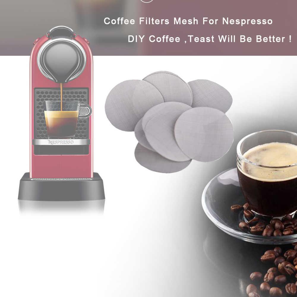 16PCS Filter Mesh Kompatibel dengan Nespresso Food Grade Logam Diameter 27MM Stainless Steel Isi Ulang Kapsul DIY Kopi
