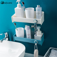 SEAAN Plastic Storage Rack Nail Waterproof Shampoo Soap Toothbrush Shower Bathroom Shelf Holder Suction Wall Hanging Organizer|Storage Shelves & Racks| |  -