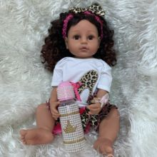 55CM ORIGINAL full body silicone reborn toddler girl doll princess brown skin curly hair lifelike real touch flexible baby girl