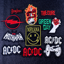 цена на DIY Nirvana Patch ACDC Band Patch Embroidered Patches For Clothing Music Rock Band Iron on Patches Logo Badge Applique Stripes F