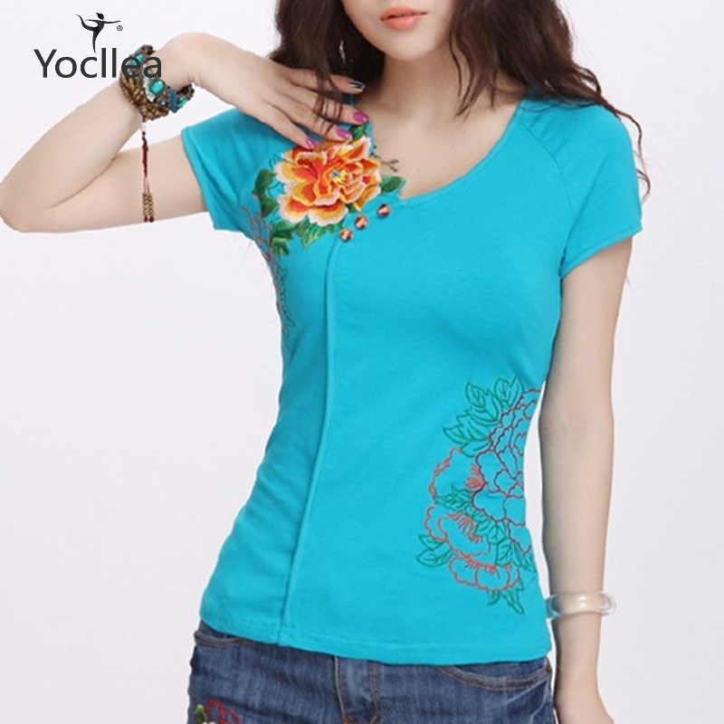 Summer T-shirt Women 3D Floral Embroidery Cotton T-shirts Women Short Sleeve V-neck Casual Tops Tees  Plus Size Female T Shirt