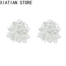 flower earrings Korean Earrings simple temperament versatile transparent stereo resin for women sweet jewelry