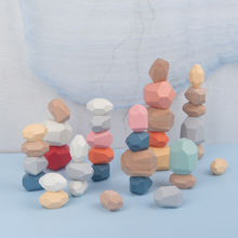 Строительный блок деревянная детская игрушка jenda цветные камни