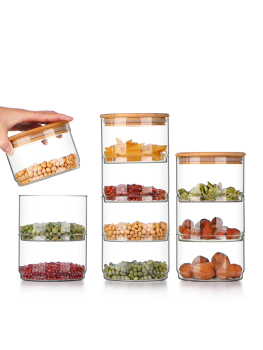 Heat-Resistant Glass Storage Tank Sealing Tea Free Stacked Multi-Layer Storage Dried Spices Food Storage Bottle 2