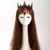 Baroque Black Crystal Hair Crown Head Wear Queen Bridal Tiara Hair Accessories Women Jewelry