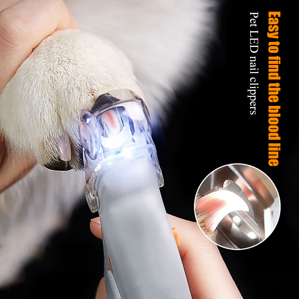 Professional Pet Nail Clipper Scissors Pet Dog Cat Nail Toe Claw Clippers Scissor LED Light Nail Trimmer for Animals Pet Supplie