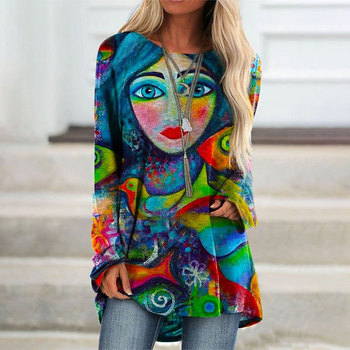 Autumn Women's Casual Tops  Abstract Face Print T-shirt Halloween O Neck Full Sleeves Loose Long T-shirt grey random floral print round neck long sleeves t shirt