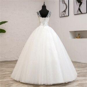 Image 2 - Vestidos de noiva moda elegante, vestidos de noiva com decote em v, novo verão, coreano, aplique, de renda, 2020 0.8