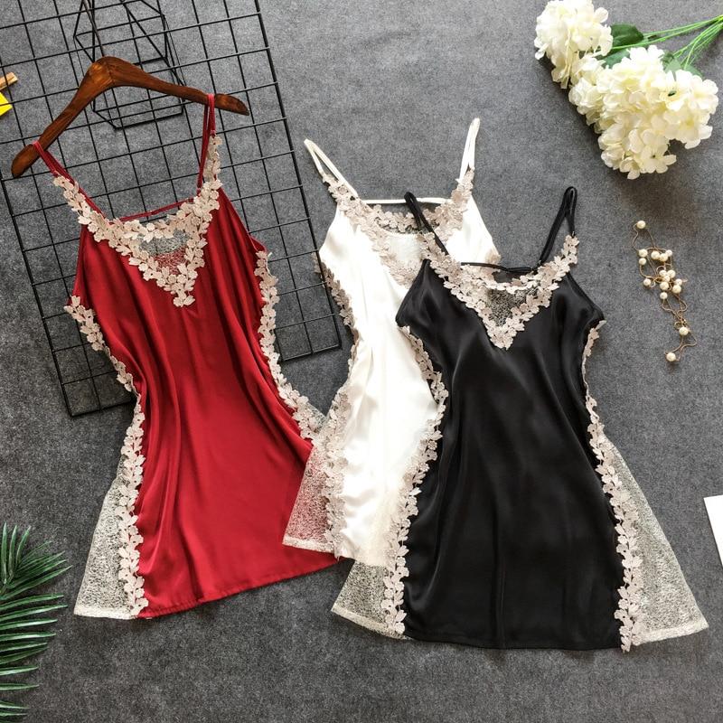 FZSLCYIYI Women Nightgowns Sexy Nightwear Lace Patchwork Lingerie Nighty Wedding Silk Nightdress Sleep Wear Nightdress Clothes