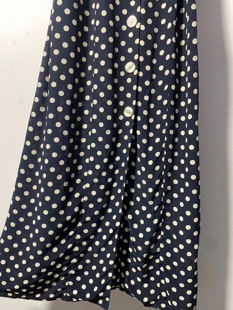 Retro Polka Dot Ladies Dress turn-down collar Single-breasted slim short sleeve women midi dress 2021 new 5