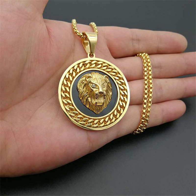 Hiphop Rock Lion Head Pendant With Chain Male Gold Color Stainless Steel Round Necklaces Pendant For Men Fashion Jewelry
