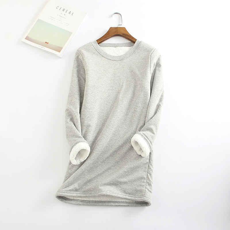 Nuovo Delle Donne del Velluto T Shirt Autunno Inverno Manica Lunga Caldo di Spessore T-Shirt Donna Che Basa La Camicia Magliette e camicette Magliette Biancheria Intima Più Il Formato