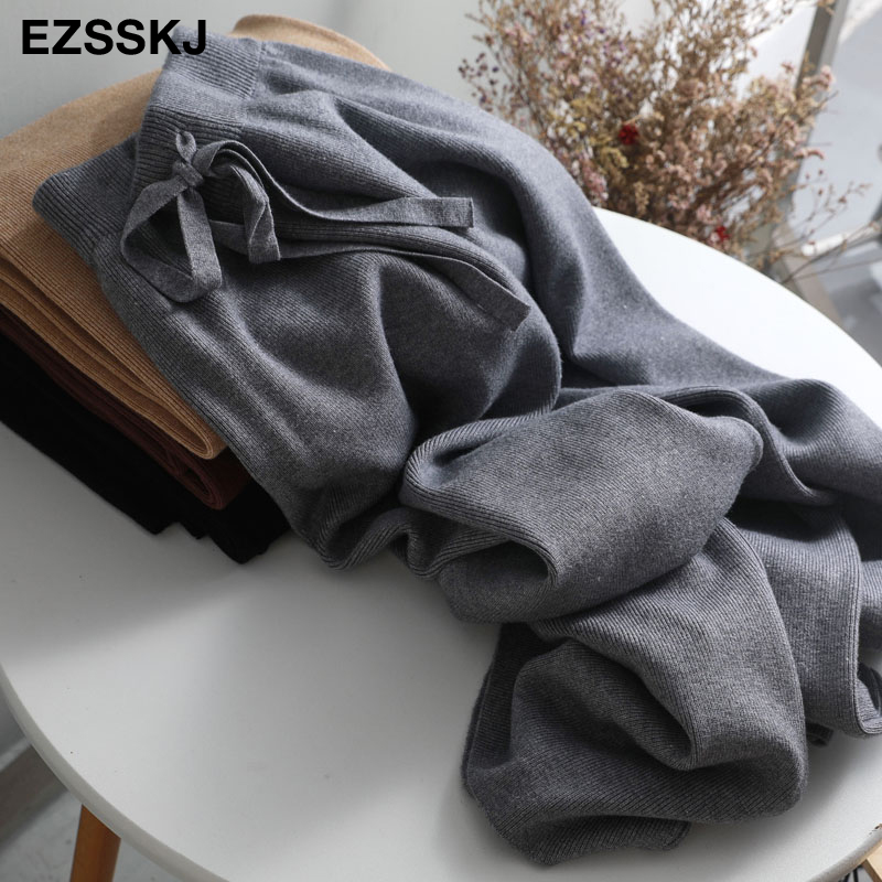 2019 autumn winter new THICK casual straight pants women female drawstring loose knitted wide leg pants casual Trousers 33