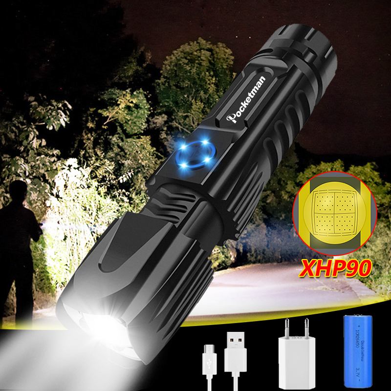 Highest LM Most Bright XHP90 LED Flashlight Xhp90.2 Flash Lights Newest Zoom Tactical Waterproof Torch Smart Chip Control 26650