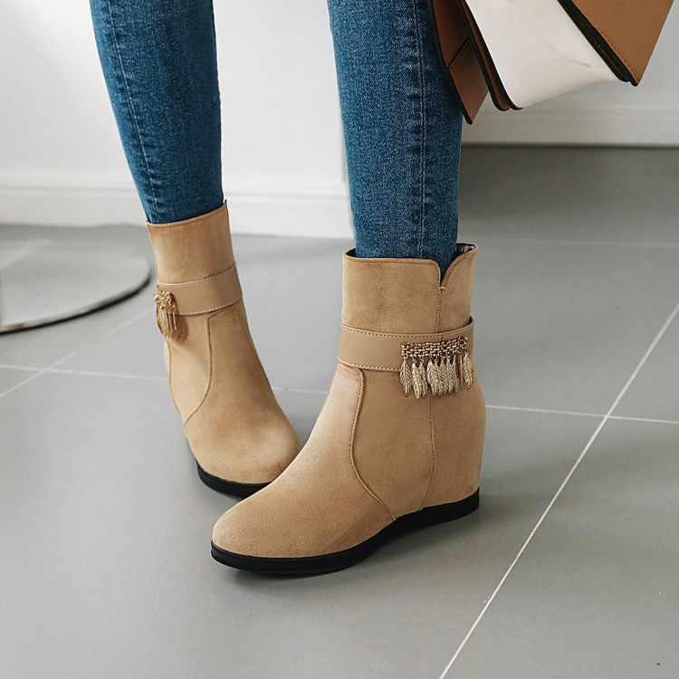 Tamanho grande 9 10 11 12 botas femininas botas de tornozelo para senhoras sapatos mulher inverno cor sólida redonda cabeça lateral zíper