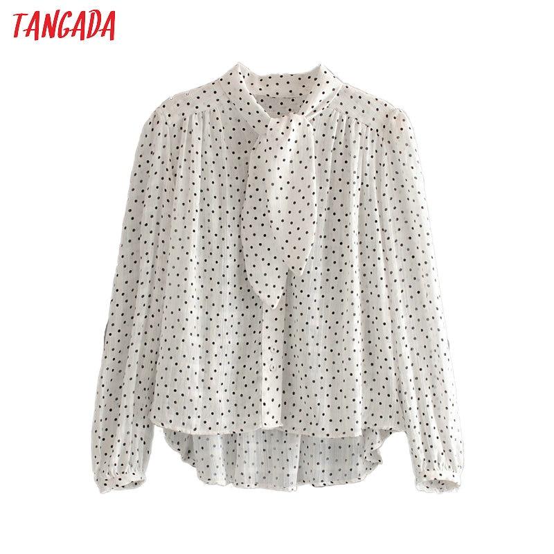 Tangada Women Retro Dots Print Chiffon Blouse Bow Neck Long Sleeve Chic Female Casual Loose Shirt Blusas Femininas 6A03