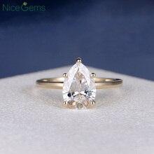 NiceGems 18K الذهب الأصفر 2 قيراط الكمثرى كربيد سيليكون مقطع خاتم الخطوبة 5 الشق مجموعة D اللون للنساء الزفاف هدية للذكرى السنوية