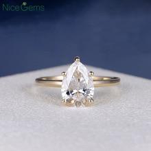 NiceGems 18K Yellow Gold 2 Carat Pear Cut Moissanite Engagement ring 5 prong set D Color For Women Wedding anniversary gift
