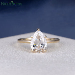 Image 1 - NiceGems 18K Yellow Gold 2 Carat Pear Cut Moissanite Engagement ring 5 prong set D Color For Women Wedding anniversary gift