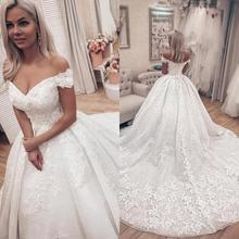 Lace Ball Gown Wedding Dresses Off Shoulder Backless Tulle Court Train Robe de mariee with Short Sleeves Wedding Bridal Dresses lovely tulle ball gown wedding dress 2019 new sweetheart lace appliques off shoulder court train princess church bridal dresses
