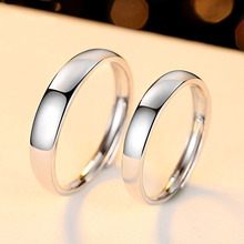 Trendy Jewelry Couple Ring Sets for Wedding Bride and Bridegroom Solid 925 Sterling Silver Plain Band Set Gift