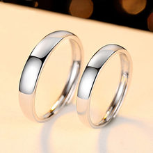 Trendy Jewelry Couple Ring Sets for Wedding Bride and Bridegroom Solid 925 Sterling Silver Plain Wedding Band Ring Set Gift(China)