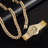 Herren Uhren Top Brand Luxus Iced Out Gold Uhr + Halskette + Armband Edelstahl Business Armbanduhr Männer Hip Hop schmuck