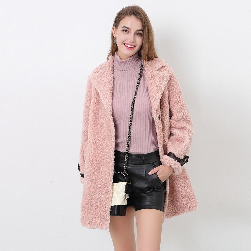 Elegant Faux Mink Fur Long Sleeve Plush Coat Women's Bomber Jacket Plus Size 2020 Winter Overcoat Warm Leather Russian Fashion