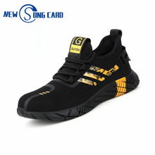 2020 New Indestructible Safety Shoes Men Breathable Mesh sneakers men Light Sneaker mesh Steel Toe Soft Anti-piercing Work Boots