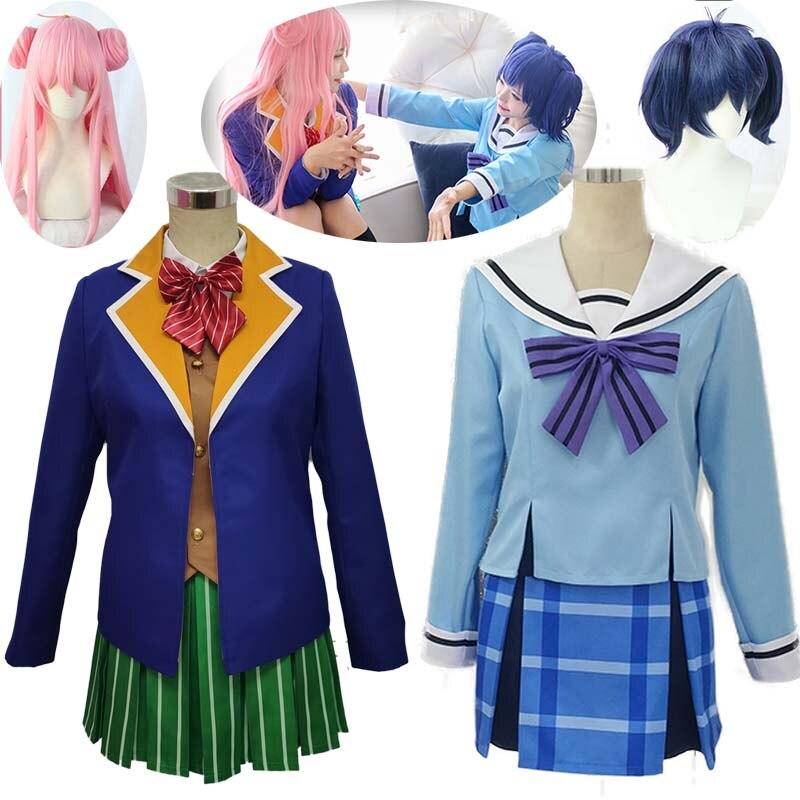 Anime Happy Sugar Life Cosplay Costume Koube Shio Women Cosplay Costume Girls JK Unifor Top+Skirt+Tie Halloween Cosplay And Wig