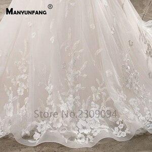 Image 5 - Винтажные кружевные свадебные платья размера плюс с рукавами крылышками и аппликациями, элегантные свадебные платья, кружевные пушистые Бальные платья, 2020