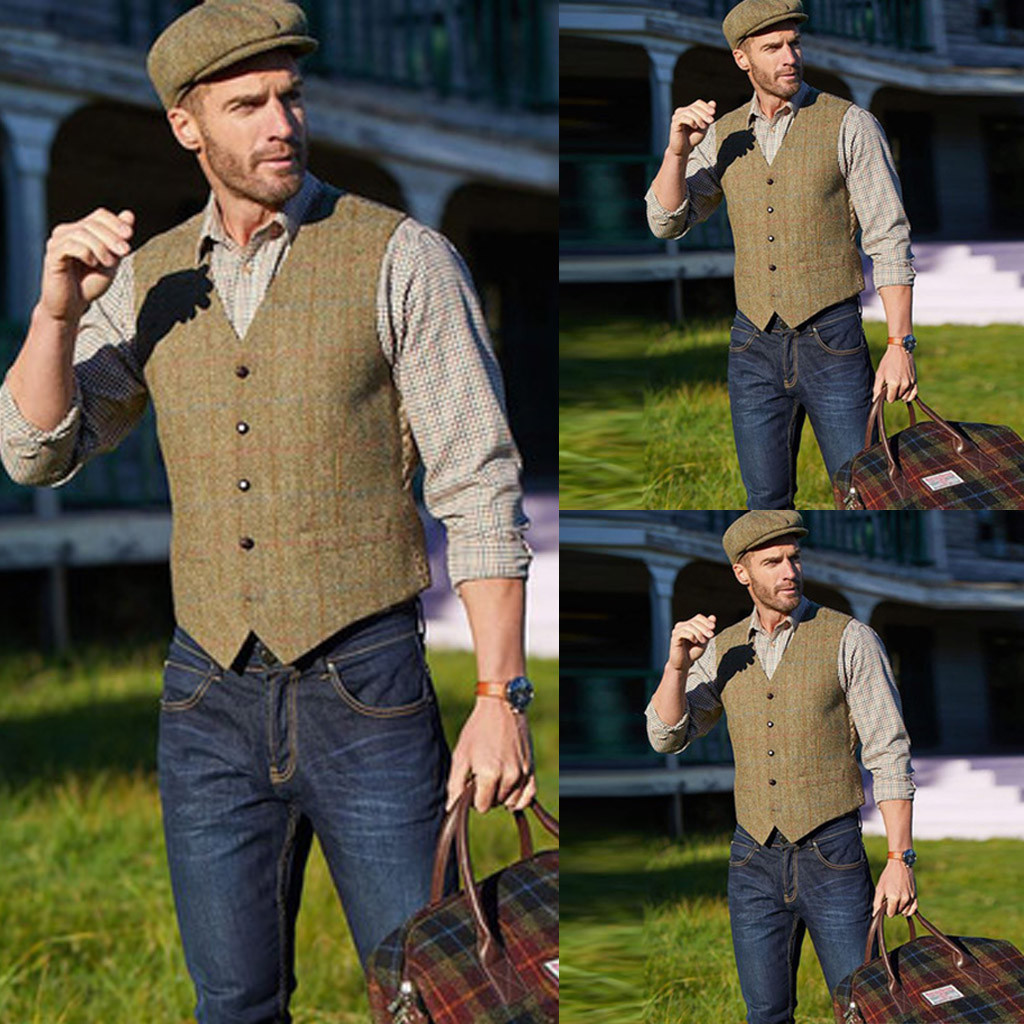 Mens Suit Vest Casual Business Sleeveless Waistcoat Vintage Plaid Single Breasted Fashion Vests Men Wedding Party Costume Vest