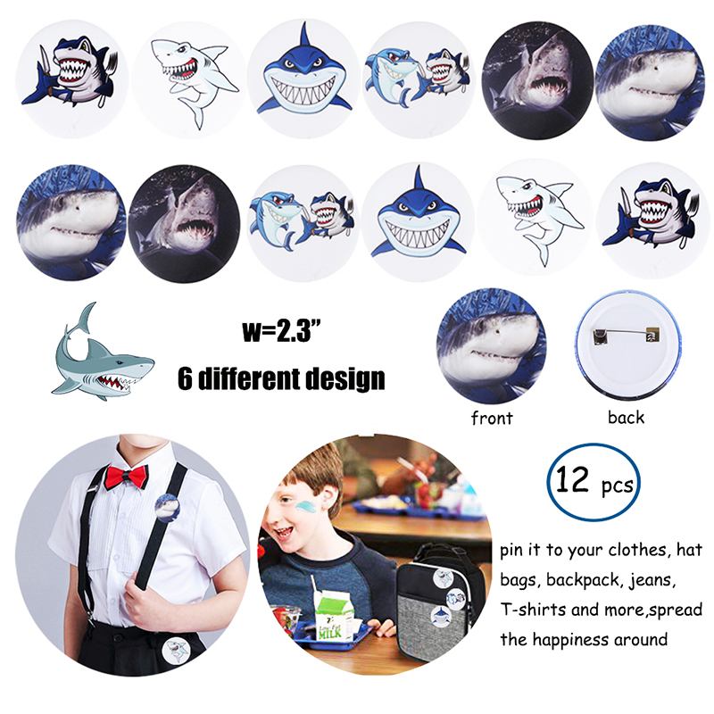 Image 2 - 66pcs shark birthday party favors for kids Gift bags Shark  bracelets Badge Teeth Necklace Stickers Under The Sea Party  SuppliesParty Favors