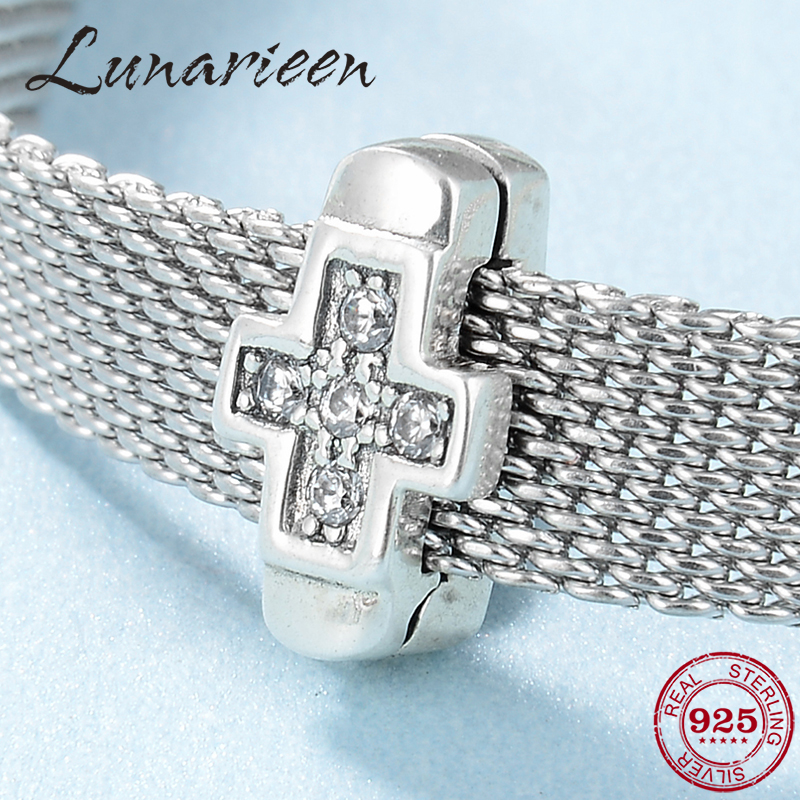 New 925 Sterling Silver Cross Clear CZ Fine Clips Beads Fit Original Reflexions Bracelet Charms Jewelry Making