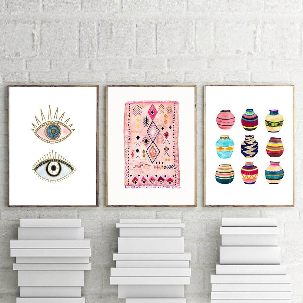 Moroccan Rug Art Painting Boho Wall Pictures Eye Tribal Woven Basket Watercolor Canvas Art Prints Home Bohemia Poster Wall Decor