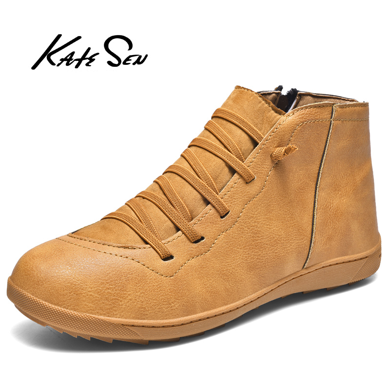 KATESEN Men Boots Fashion Genuine Leather Male Boots All Season Work Shoes Man Ankle Boot Vintage Outdoor Motorcycle Boots
