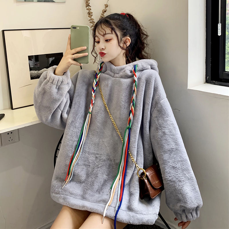 2020 winter new thick imitation lamb plush pullover sweatshirt female Korean style oversize hoodies loose small fresh coat 1