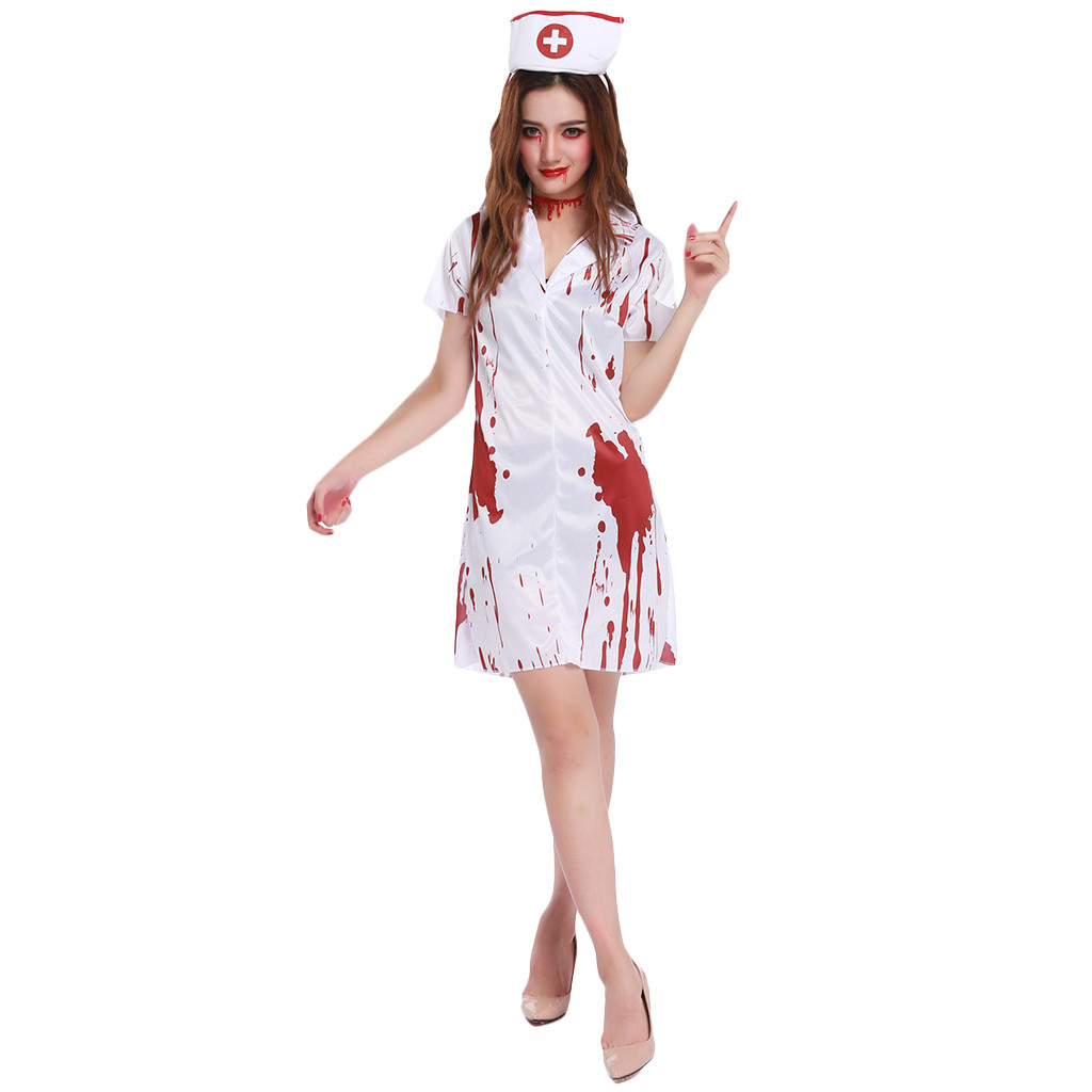 Womens Fancy White Bloody Halloween Tights Adults Fancy Dress Scary Play Trousers