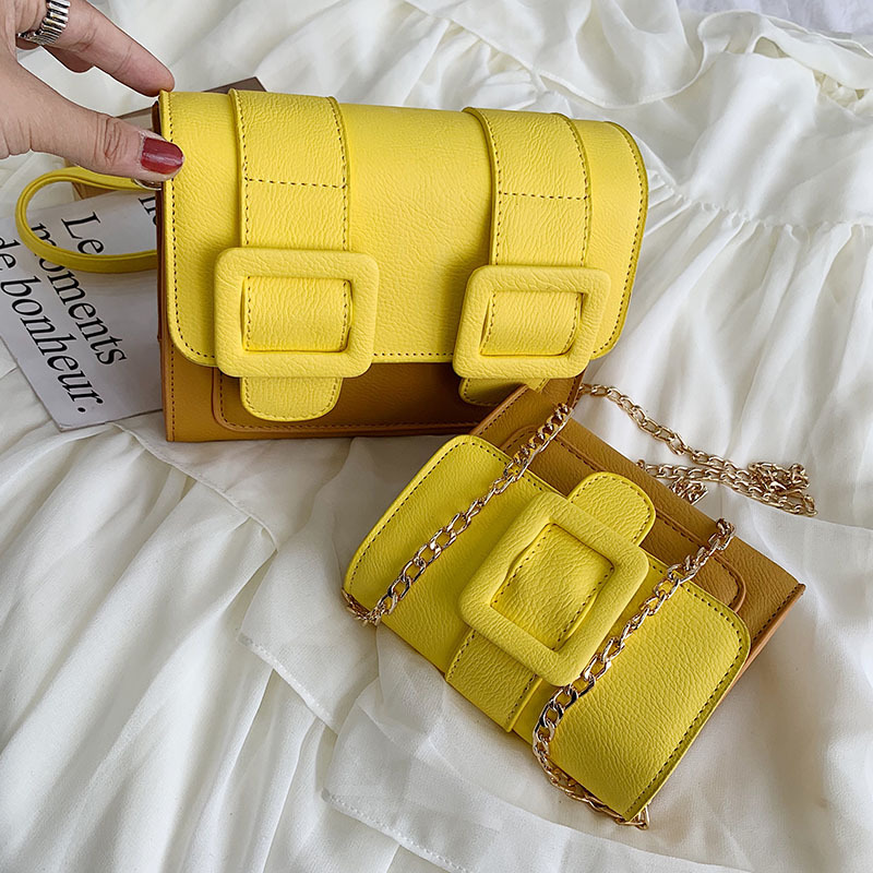 Fashion color women 39 s bag Korean version single shoulder bag woman hundred foreign temperament oblique across small square bag in Shoulder Bags from Luggage amp Bags