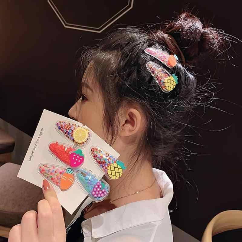 5 piezas pinza de pelo de lentejuelas de dibujos animados de fruta coreano lindo Color caramelo chica BB horquilla conjunto de Clip de pelo accesorios para el cabello Dropshipping