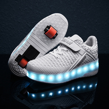 Girls Boys LED Shoes Kids Sneakers 2021 New 29-40 USB Charging Children Sneakers With 2 Wheels With Wheels Roller Skate Shoes
