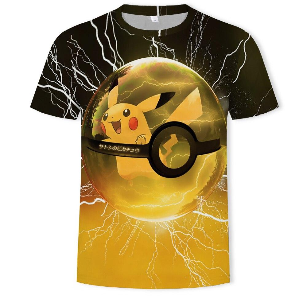 Em torno do pescoço casual crianças pokemon t camisa masculina anime traje 3d impressão legal menino menina de manga curta t camisas masculina